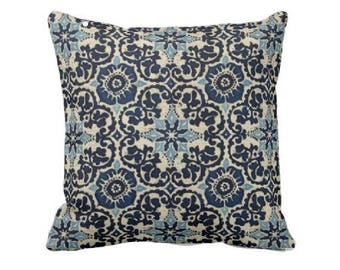 Indoor Outdoor Throw Pillow Cover -Outdoor Decorative Pillow - Aqua Outdoor Pillow - Navy Blue Outdoor Pillow - Outdoor Bright Blue Pillow