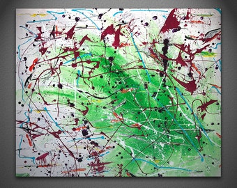 Green and White Textured Abstract Painting with Red Accent Paint Drips by GravinArt - Original