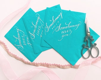 Handwritten Easter Cocktail Napkins / Set of 10 / Beverage Napkins / Calligraphy / Handwritten / Easter holiday/ Easter bunny/ Easter Sunday