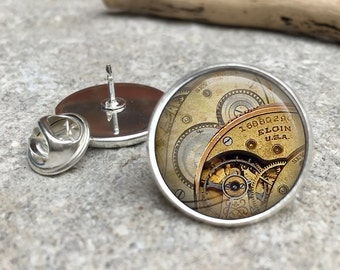 Steampunk Elgin Glass Dome Round Cabochon Lapel Tie Pin Badge Gift UK