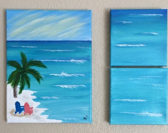 Nautical Decor, Coastal Home Decor, Seaside Painting, Coastal Wall Art, Beach Art, Canvas Painting, Ocean Art Painting, Seaside Paradise