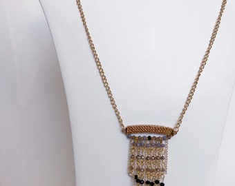 Gold Pendant Necklace with Dangling Black And Grey Beads