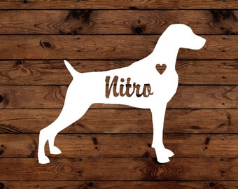 Weimaraner Silhouette with Heart and Name -  Vinyl Graphic Decal   Many color options