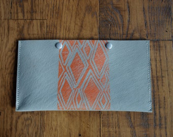 Leather Clutch, gray with orange pattern