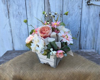 A Vintage Shabby Chic Floral Arrangement, Antique White, Vintage Rose and Cream Centerpiece, Wedding Centerpiece, Mothers Day Gift