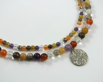 SALE Multi Color Quartz Gemstone Medallion Pendant Double Layer Silver Necklace