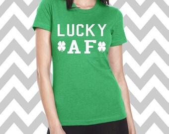 Lucky AF St. Patrick's Day Shirt Bar Pub Shirt Funny St. Patty's Day Tee Clover Shirt Funny Drinking Tee Shamrock Shirt Lucky Shirt