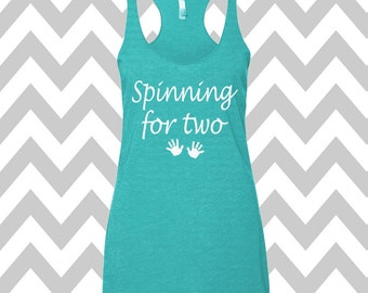 Spinning For Two Tank Top Maternity Tank Racerback Tank Top Pregnancy Workout Tank New Mom Pregnancy Soft Tank Top Announcement Tank