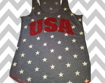 USA Tank Top Stars Glitter Print  4th of July Tank Top Stars Tank Top Patriotic Tank Top Memorial Day Tank Funny Drinking Tank Top