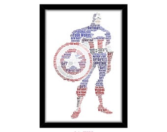 PERSONALISED Captain America Word Art Wall Print Gift Idea Decor Birthday For Him Son Dad Grandad Marvel Superhero Super Hero The Avengers