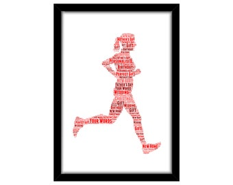 PERSONALISED Running Woman Word Art Wall Print Gift Idea Decor Birthday For Her Runner Athlete Marathon Sprint Jog Jogging Triathlon Mum Sis
