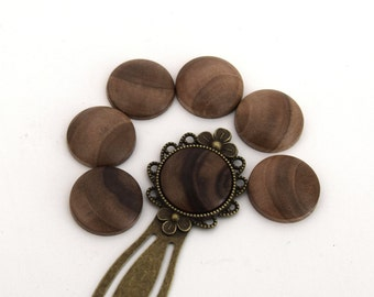 1 round cabochon in Walnut wood handmade (handmade product) 20mm ref CB201602