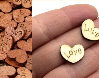 Little hearts wooden registration LOVE for scrapbooking jewelry Decoration
