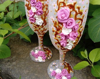 Romantic wedding Hand painted wedding glasses Toasting flutes Champagne glasses