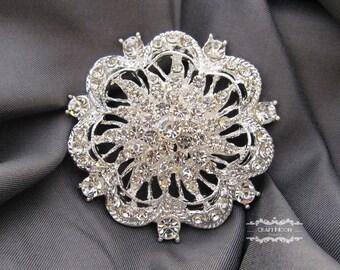 "1-5 Rhinestone Brooch 2"" Silver Pin Large Brooch Button Crystal Wedding Brooch Bouquet Embellishment Flower Bridal Hair Comb Shoe Cake BR514"