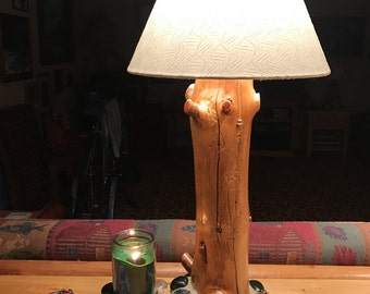 Rustic Red Cedar Log Lamp With Beach Stone Base