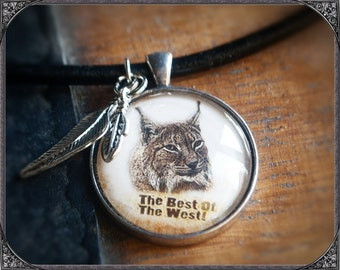 Western/Country Cabochon Necklace Bobcat with text