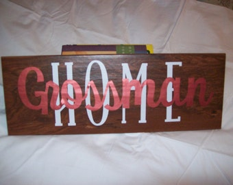 Handmade Home sign with last name