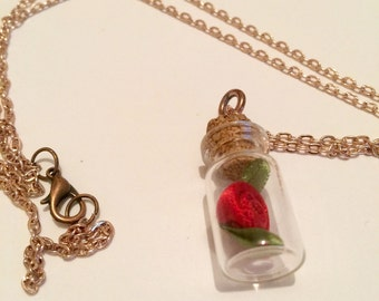 Beauty and the Beast enchanted rose inspired necklace, Disney necklace, Rose pendant necklace item 280 by CraftyLittleMonkeyGB