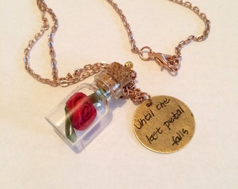 Beauty and the beast inspired necklace, Rose necklace, disney necklace, until the last petal falls item 258 by CraftyLittleMonkeyGB