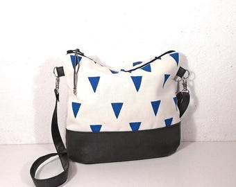 White and blue geometric bag, canvas bag, canvas crossbody  bag, shoulder bag, gray purse, hobo bag, cotton handbag, daily bag, Summer bag