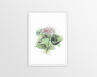 A4, Dogwood, Wall art, Decoration, Home decor, Print, Mural Art, watercolor, botanical