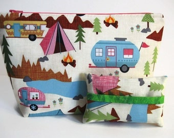 Make Up Bag Set, Camping Fabric, Zipper Pouch, Tissue Holder, Cosmetic Case, Toiletry Storage, Organizer Travel Bag, Vintage Camper RV Tent