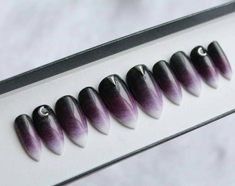 Purple Witch Press on Nails   Ombre Black   Alternative   Handpainted Nail Art   Glue On Nails   Any Shape and Size