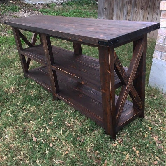 Rustic Narrow Foyer Table : Items similar to rustic console table sofa