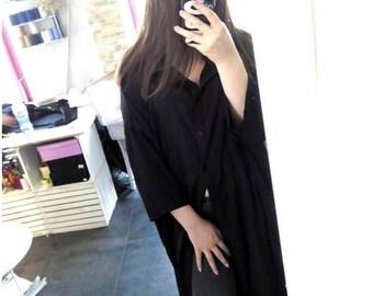 Anti Fit Oversized Extra Long Woman Shirt / Extravagant Maxi Black Shirt / Plus Size Loose Black Woman Silk Shirt / Sexy Summer Long Shirt