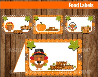 Thanksgiving Food Labels, Printable Thanksgiving food labels, Thanksgiving food tent cards instant download