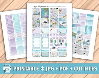 COFFEE & MACAROONS Printable Planner Stickers/Erin Condren Planner Stickers/Weekly Kit/Silhouette Cutfiles/Pastel Purple Bow Macarons Books