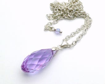 Handmade Silver Plated Briolette Necklace / Lilac Crystal Briolette Pendant Necklace / Silver Plated Necklace with Briolette