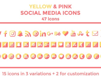 Yellow Pink Social Media Icons Buttons Website Icons Blog Icons Social Media Icons Graphics Twitter