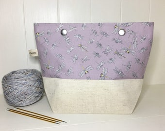 Dragonfly project bag, purple, lilac, Linen, sock project bag, DPN storage, knitting bag,
