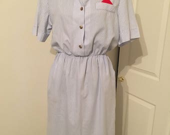 vintage blue and white pin striped dress size 14 petite!
