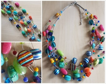 Multi strand Multi colour Glass Necklace - glass beaded necklace - 5 strand necklace - multi colour necklace