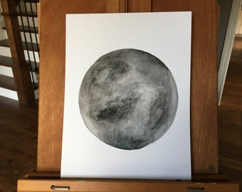 Dark Watercolor Moon Original 9x12