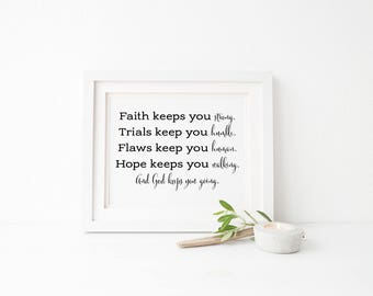 Faith print, inspirational wall art,  home decor print, religious gift, inspirational quote, wall decor, inspirational living room decor
