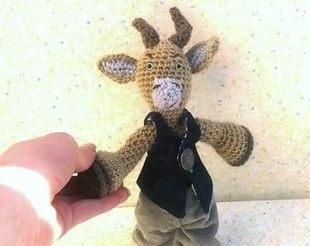 "Amigurumi goat ""Germain,"" the kid, dressed to look simple but star"