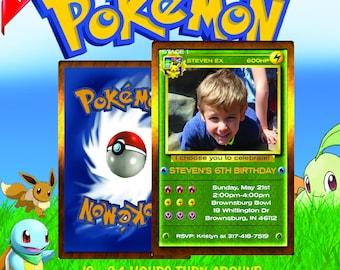 pokemon invitation, pokemon birthday invitation, pokemon birthday, pokemon card, pokemon party, pokemon invite, pokemon go, pokemon green