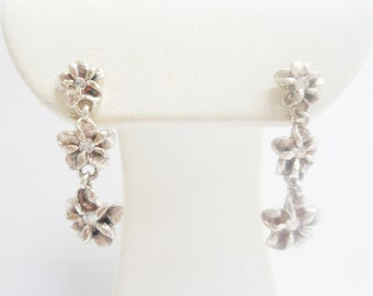 Flower Earrings, Vintage Earrings, Flower Dangle Earrings, Vintage Sterling Silver Flower Cubic Zirconia Accent Dangle Earrings #2738