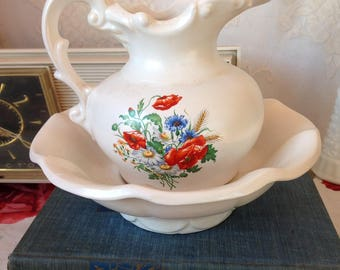 McCoy Pottery White With Floral Transfer Pitcher With Under Basin Set