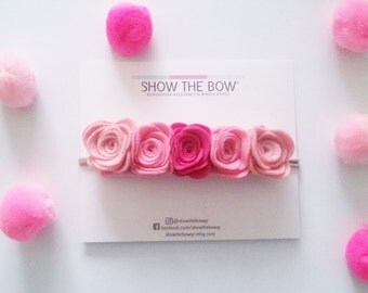 Ombre Τσόχινο λουλουδένιο crown -headband /Baby Girl, Toddler, Girls  Ombre Felt flower crown -Headband