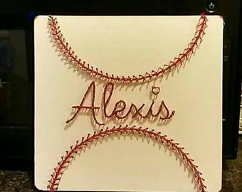 Personalized baseball/softball nail string art sign