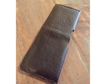 Leather Wallet, Men's Wallet, Minimalist Wallet, Slim Wallet, Black Zora Leather, Pebble Grain, Ultra Soft