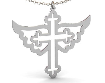 Cross Necklace with Angel Wings, Silver Cross Necklace, Orthodox Cross Necklace, Angel Wings Necklace, Christian Necklace