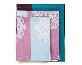 Turquoise & Lavender, Purple Damask Bold Stripe 4 PCS Sheet Set