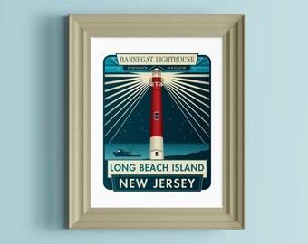 Lighthouse decor   New Jersey gift   New Jersey wall art   New Jersey wall decor   Barnegat Lighthouse   Long Beach Island   Jersey Shore