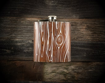 "6oz. hand painted stainless steel flask ""wood grain"""